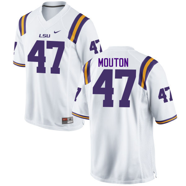 Men LSU Tigers #47 BryKiethon Mouton College Football Jerseys Game-White