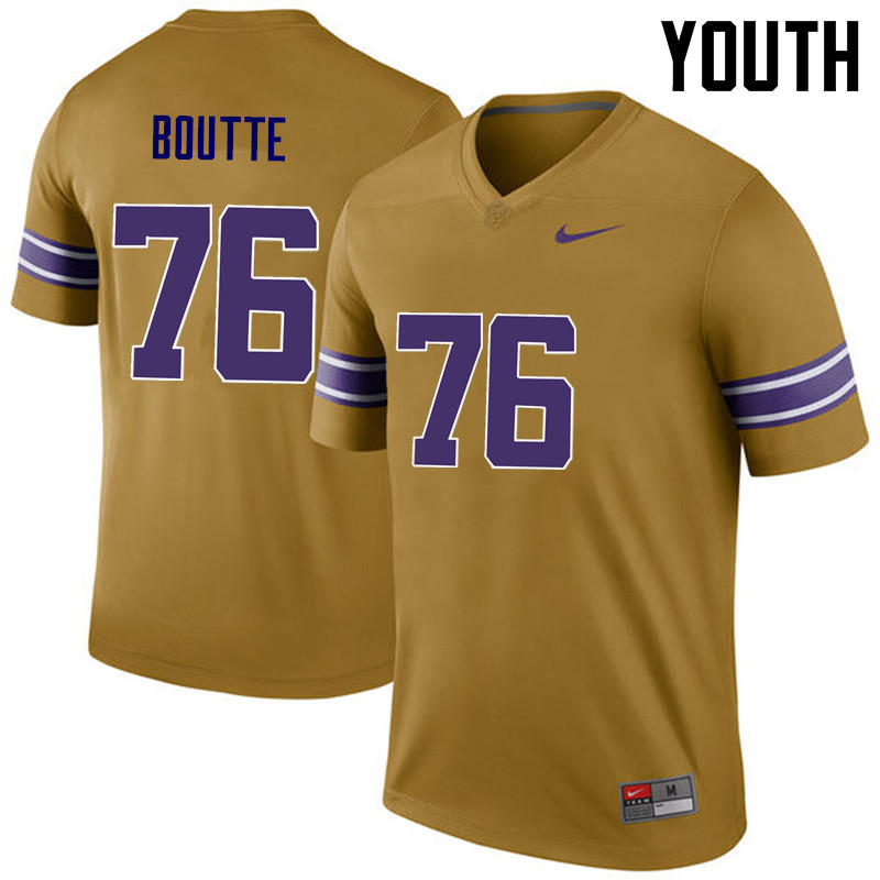 Youth LSU Tigers #76 Josh Boutte College Football Jerseys Game-Legend